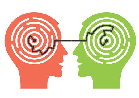 Dos hombres siluetas cabeza con laberinto que simbolizan los procesos psicológicos de la comprensión. Ilustración del vector.