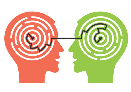 psicologia: Dos hombres siluetas cabeza con laberinto que simbolizan los procesos psicológicos de la comprensión. Ilustración del vector.