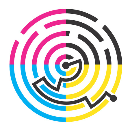 polygraph: Labyrinth of print colors symbolizing successful solution of color printing. Vector illustration.