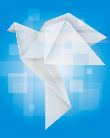 dove bird: Magical Origami dove on the blue background. Religion concept.Vector illustration.
