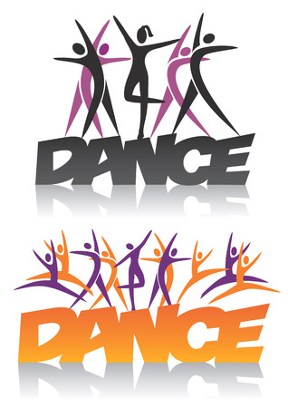 Word dance with silhouettes of dancers. Vector illustration. Vettoriali