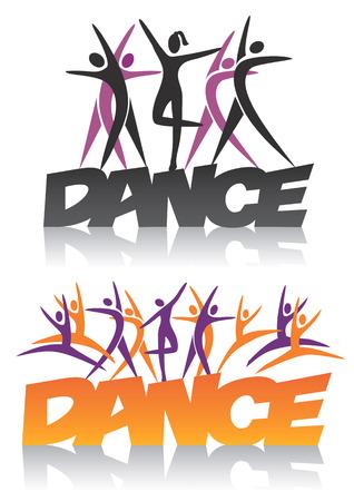 persone che ballano: Danza Word con sagome di ballerini. Illustrazione vettoriale.