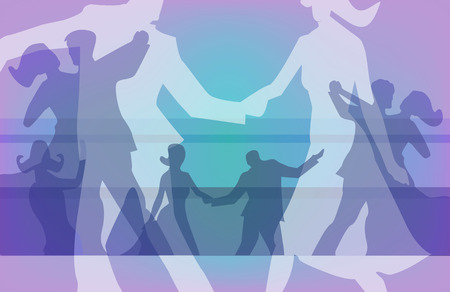colorful  background for with silhouettes of  dancing couples.