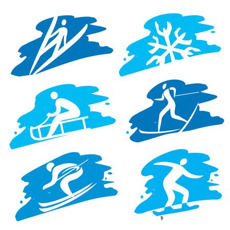 Set of grunge winter sport icon on the grunge background. Stock Illustratie