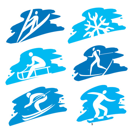 Set of grunge winter sport icon on the grunge background. Illustration
