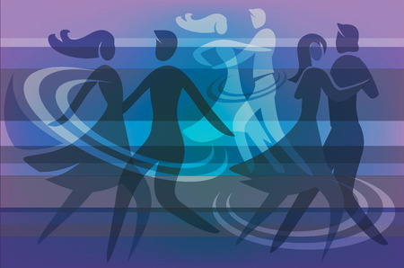 Colorful  background with silhouettes of  dancing couples. Illustration.