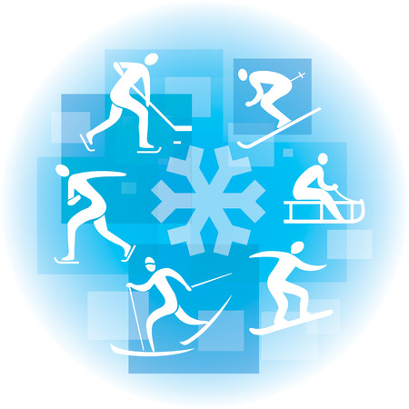 winter sport: Collage of  winter sport icon on the blue background . Illustration Illustration