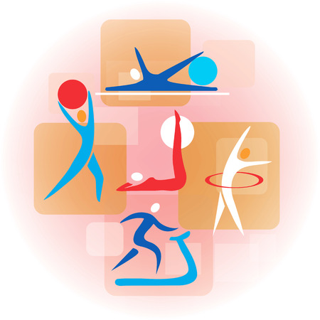 relaxation exercise: Collage  with fitness activity symbols. Colorful illustration.