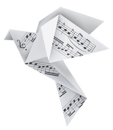 Origami paloma de papel con notas musicales. Tema de usar para el cuaderno de la música y los himnos. Ilustración del vector. Vectores
