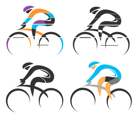 Four modern stylized colorful and black symbols of sport cyclist. Vector illustration. 向量圖像