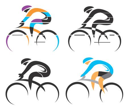 Vier moderne gestileerde kleurrijke en zwarte symbolen van de sport fietser. Vector illustratie. Stockfoto - 33564023