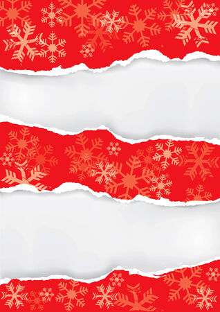 ripped: Red  grunge  snowflakes with torn paper with place for your text or image.