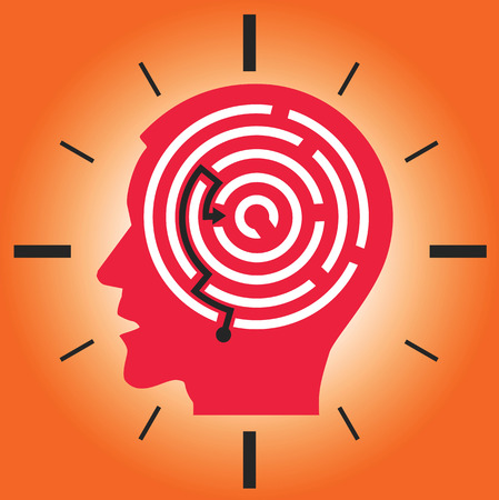 deadline: Male head silhouette with labyrinth on the red clock background symbolizing Deadline and Stress. Vector illustration. Illustration