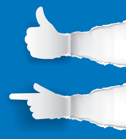 uncovering: Paper silhouette Gesturing  thumbs up and pointing direction on the ripping blue paper background with place for your text or image.