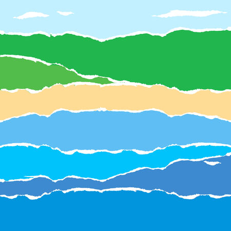 seacoast: Torn paper abstract background as abstract Seacoast landscape. Vector illustration.