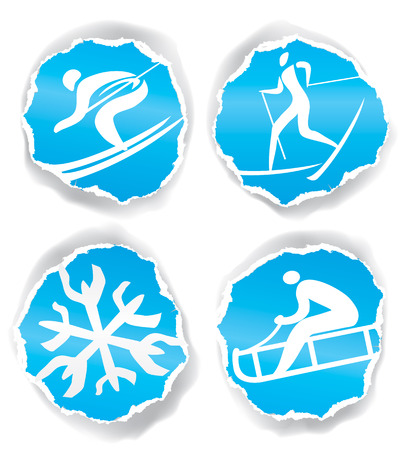 winter sport: Four original winter sport icons on the ripped blue paper for cool design. Vector illustration. Illustration