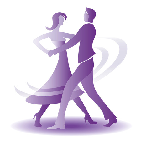 Young couple dancing ballroom dance.  Illustration