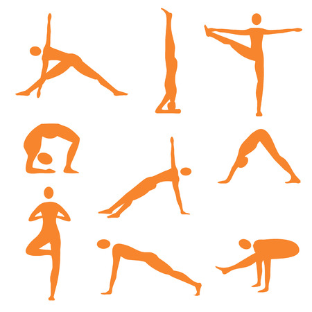 body silhouette: Set of nine orange  yoga icons. Vector illustration.