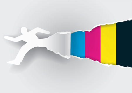 Paper silhouette of  running man ripping paper with print colors with place for your text or image.  Concept for presenting fast color printing. Vector illustration.