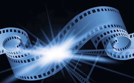 cinema film: Blue cinema background with a camera film. Stock Photo