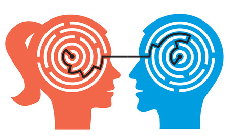 Siluetas de cabeza femeninos y masculinos con laberinto simboliza los procesos psicológicos de la comprensión. Ilustración. Ilustración de vector