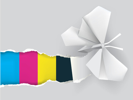 Illustration of Origami butterfly ripping paper with print colors. Concept for presenting color printing press.