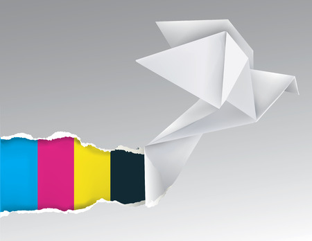 Illustration of Origami flying pigeon ripping paper with print colors. Concept for presenting color printing press.