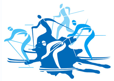 A stylized drawing of cross-country ski competitors. Vector