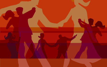 dance floor: Red background with silhouettes of dancing couples. Illustration.