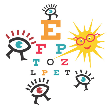 eye exams: Funny testing eyesight. Sun as an ophthalmologist testing eyesight .Illustration cartoon.