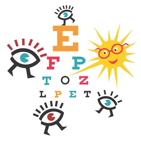 Funny testing eyesight. Sun as an ophthalmologist testing eyesight .Illustration cartoon.