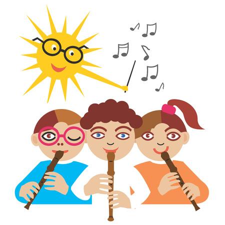 flauta dulce: Los niños que juegan en la flauta y el sol como un conductor.Cartoon. Vectores