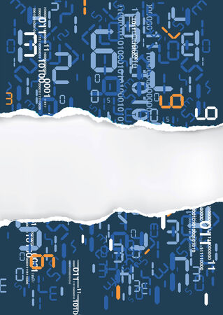 torn paper background: Torn paper background with digital numbers and place for your text or image. Illustration. Illustration