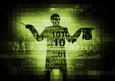 binary code: Abstract  with binary codes  with a silhouette of computer magician. Stock Photo
