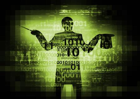 codigo binario: Resumen de los códigos binarios con una silueta de mago ordenador. Foto de archivo