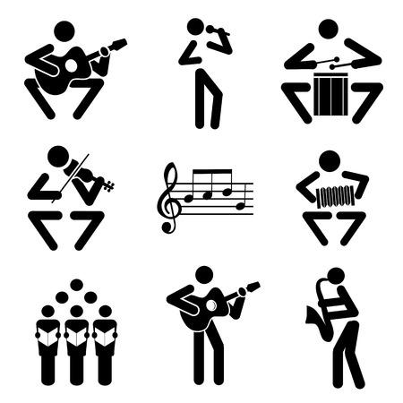 Set van zwarte illustraties van muzieknoten en muzikanten. Stock Illustratie