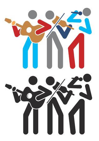 folk music: Music group with guitarist, singer and violinist. Illustration. Illustration