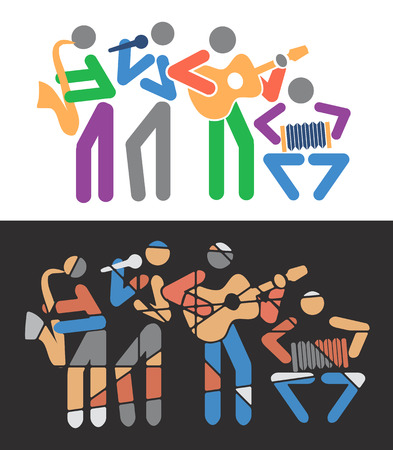 folk music: Music group with guitarist, singer, saxophonist and accordionist.Illustration.