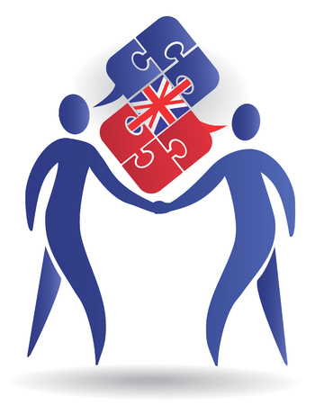 pronunciation: Two male silhouettes and Puzzle bubble talk with a British flag symbolizing English conversation Vector illustratio