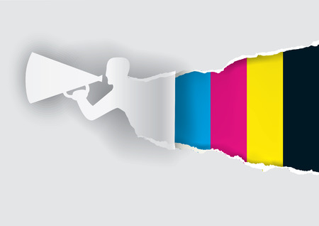 Paper male silhouette advertises color printing with megaphone with place for your text or image. Vector