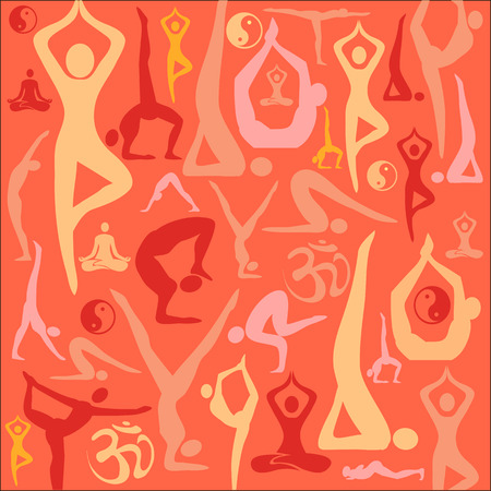 Decorative red background with yoga symbols and positions. Illustration. Illustration