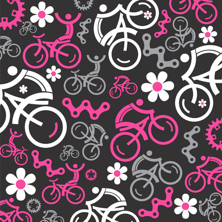 Funny Colorful cycling background with cycling icons and flowers. Illustration. Vector
