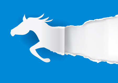 place for text: Paper silhouette of  running horse ripping blue  paper background with place for your text or image.Vector illustration. Illustration