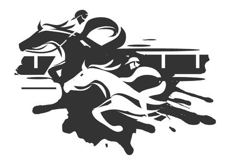 corse di cavalli: Due fantini racing a piena velocità. Illustrazione in bianco su sfondo bianco Vettoriali