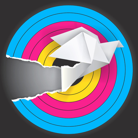 fluke: Target with print colors and origami dove . Concept for presenting color printing press.Vector illustration.