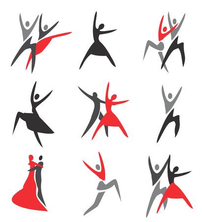 Set of  ballroom, ballet, modern dance colorful icons. Vector illustration.
