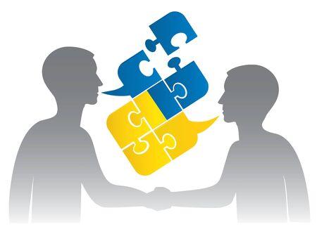konflikt: Dwóch mężczyzn sylwetki uścisnąć dłoń i puzzle bubble rozmawiać z ukraińskiej flagi symbolizującej ukraińskie rozmowy lub złe dialog polityczny i konflikty. Ilustracji wektorowych.