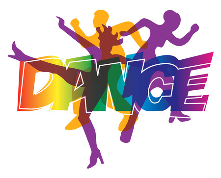 Disco and modern dancing Dancers silhouettes on the colorful  inscription Dance. Vector illustration.