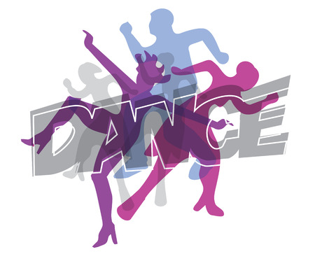 disc jockey: Disco and modern dancing Dancers silhouettes on the inscription Dance. Vector illustration.