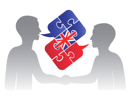 Business English dialog. Two men and Puzzle bubble talk with a British flag symbolizing English conversation.Vector illustration